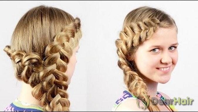 Ажурная коса из средних волос
