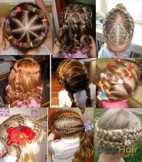 Причёски для девочек на средние волосы с резинками