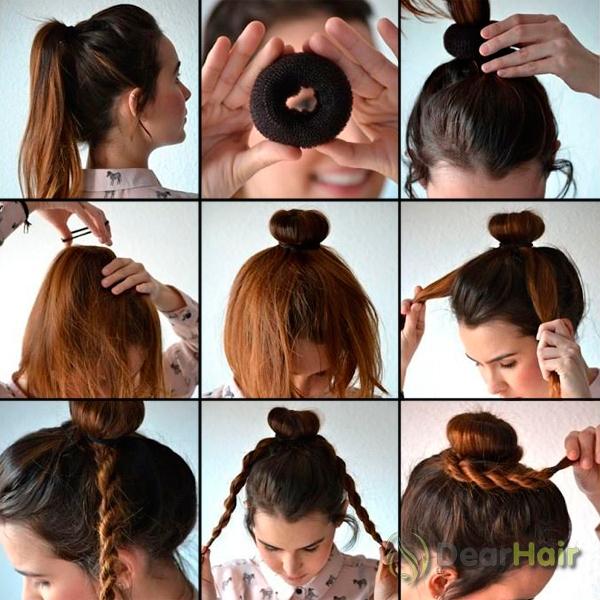 Прически на средние волосы шишки