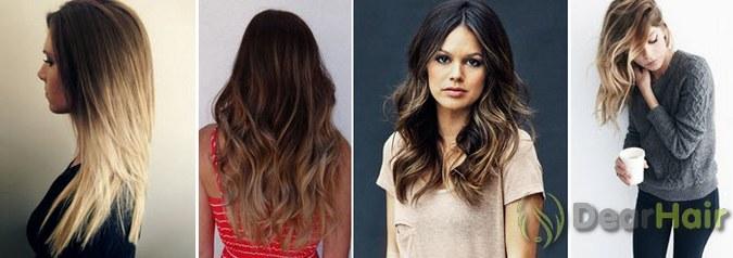 окраска волос омбре на темные волосы фото