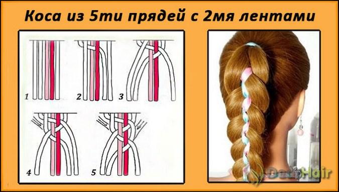 Коса с лентой схема