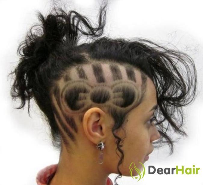 женские рисунки машинкой на голове фото